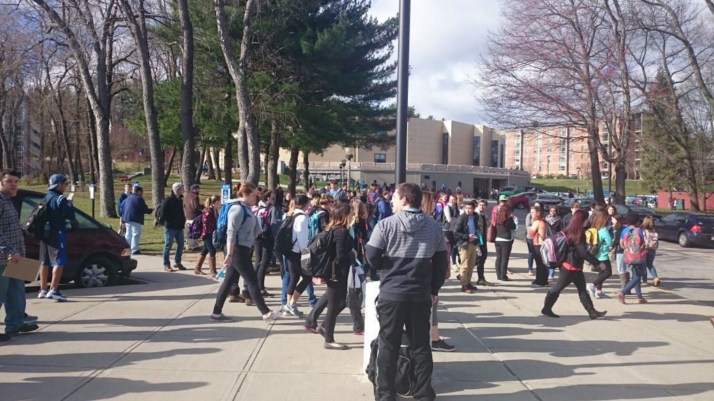 Photo by Kate Tattan: Student leaving the Sullivan building after bomb threat