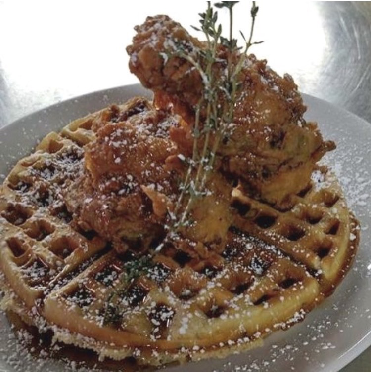 The Hangover Pub's most popular dish, chicken and waffles.