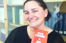 Damfino Press co-founder Heather Macpherson poses with 5 Poems.