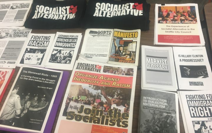 Materials at a Socialist Alternative event.