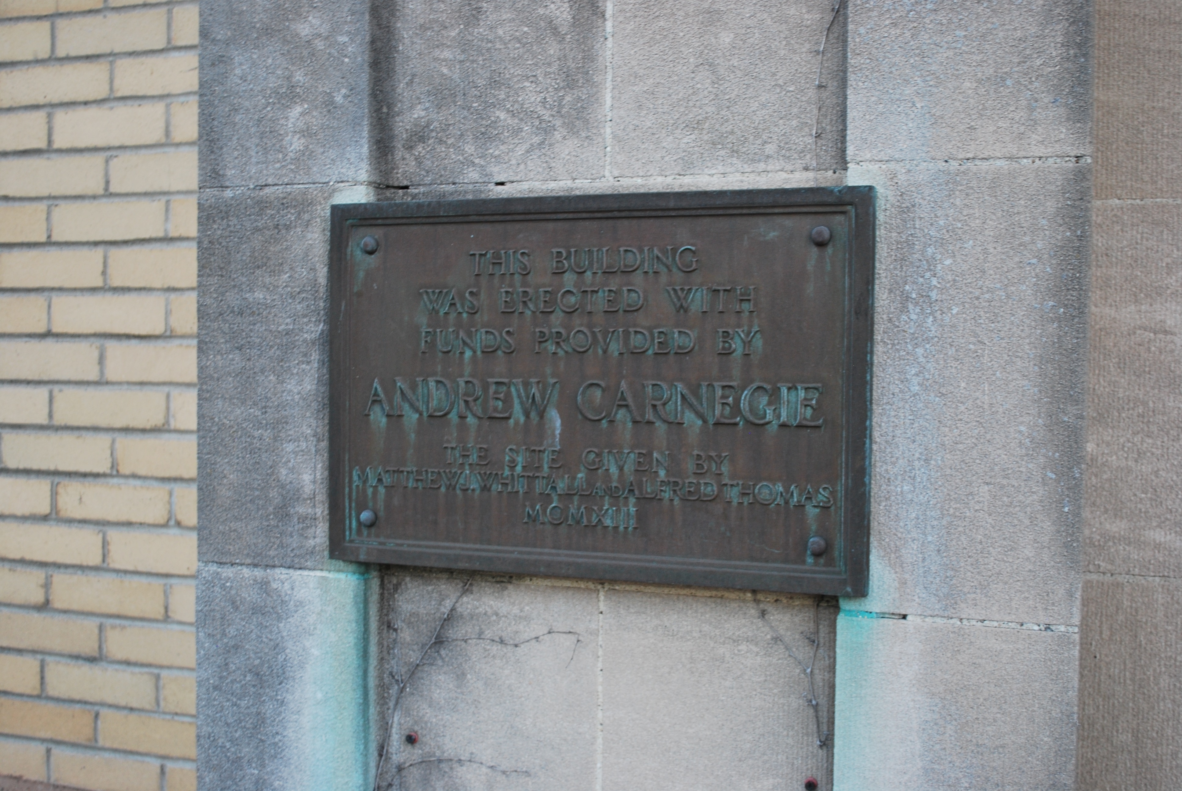 Plaque outside the Greendale branch of the Worcester Public Library.